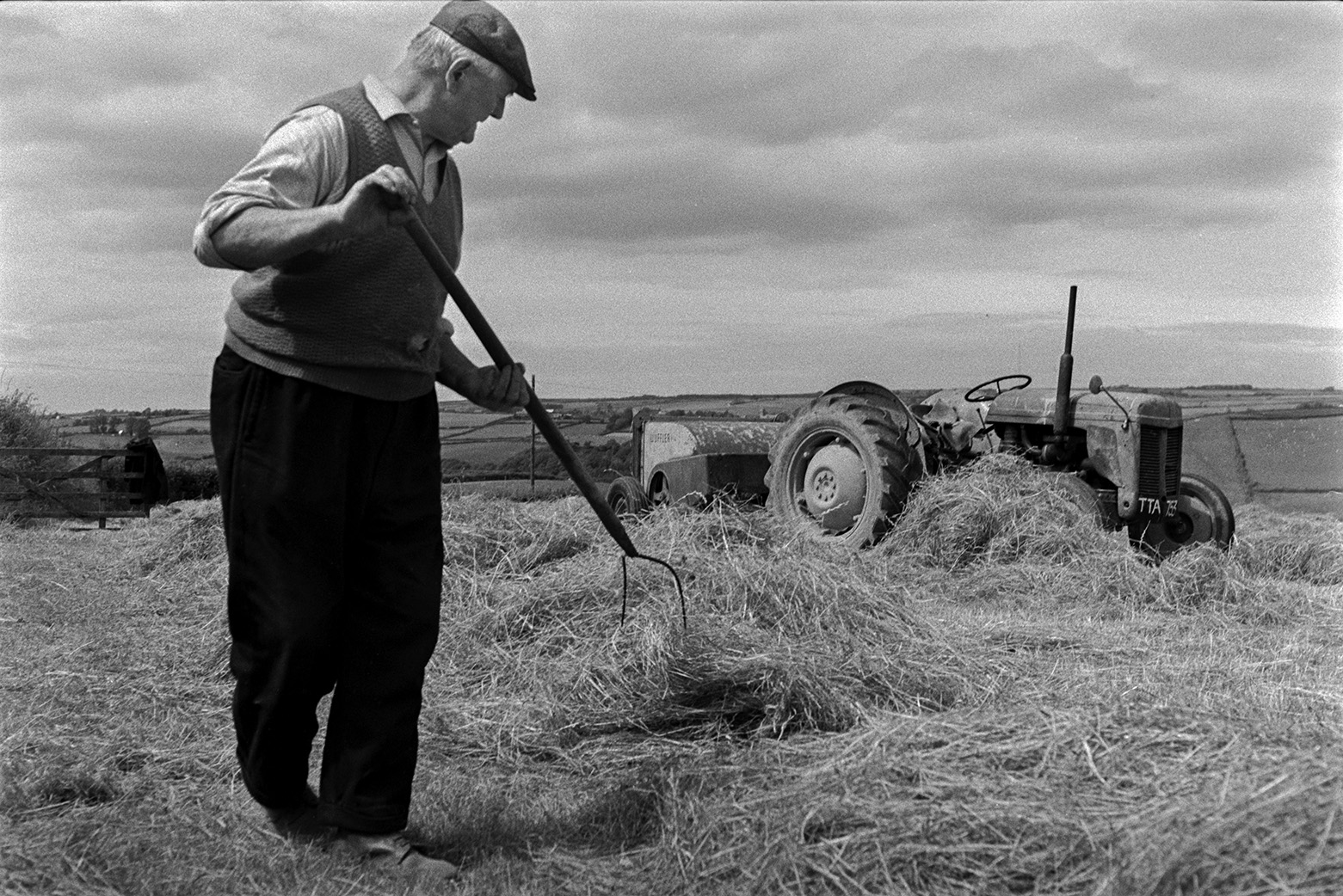 A man turning hay using a pitchfork, to prepare it for baling, in a field at Mill Road Farm, Beaford. A tractor and windrow machine is visible in the background. The farm was also known as Jeffrys.