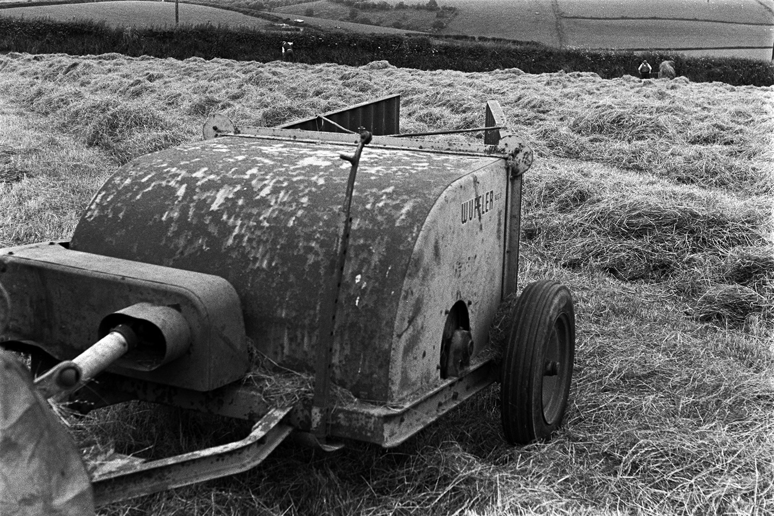 A windrow machine in a field at Mill Road Farm, Beaford. The windrows ready for baling are visible and men can be seen turning the hay by hand in the background. The farm was also known as Jeffrys.
