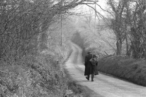 Ivor Brock walking up West Lane by James Ravilious