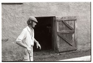Man watching cattle in farmyard by James Ravilious
