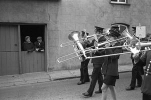 Hatherleigh Band parading at the Carnival by James Ravilious