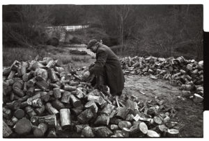 Ivor Brock collecting logs by James Ravilious