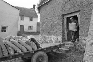 Loading fertilizer from a cob barn onto a trailer by James Ravilious