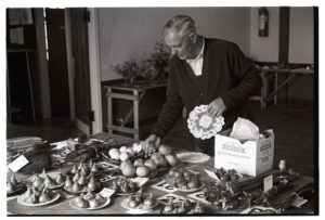 Philip George laying out produce at the Flower Show by James Ravilious