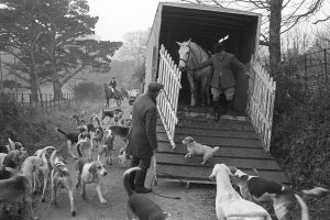 The Stevenstone Hunt arriving at a meet by James Ravilious