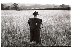 Scarecrow in barley field by James Ravilious