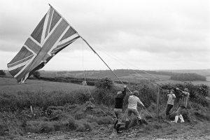 Hoisting the Jubilee flag
