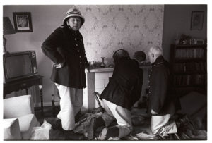 Firemen attending a chimney fire by James Ravilious