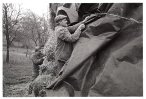 Alf Pugsley securing polythene sheet over bales of hay by James Ravilious
