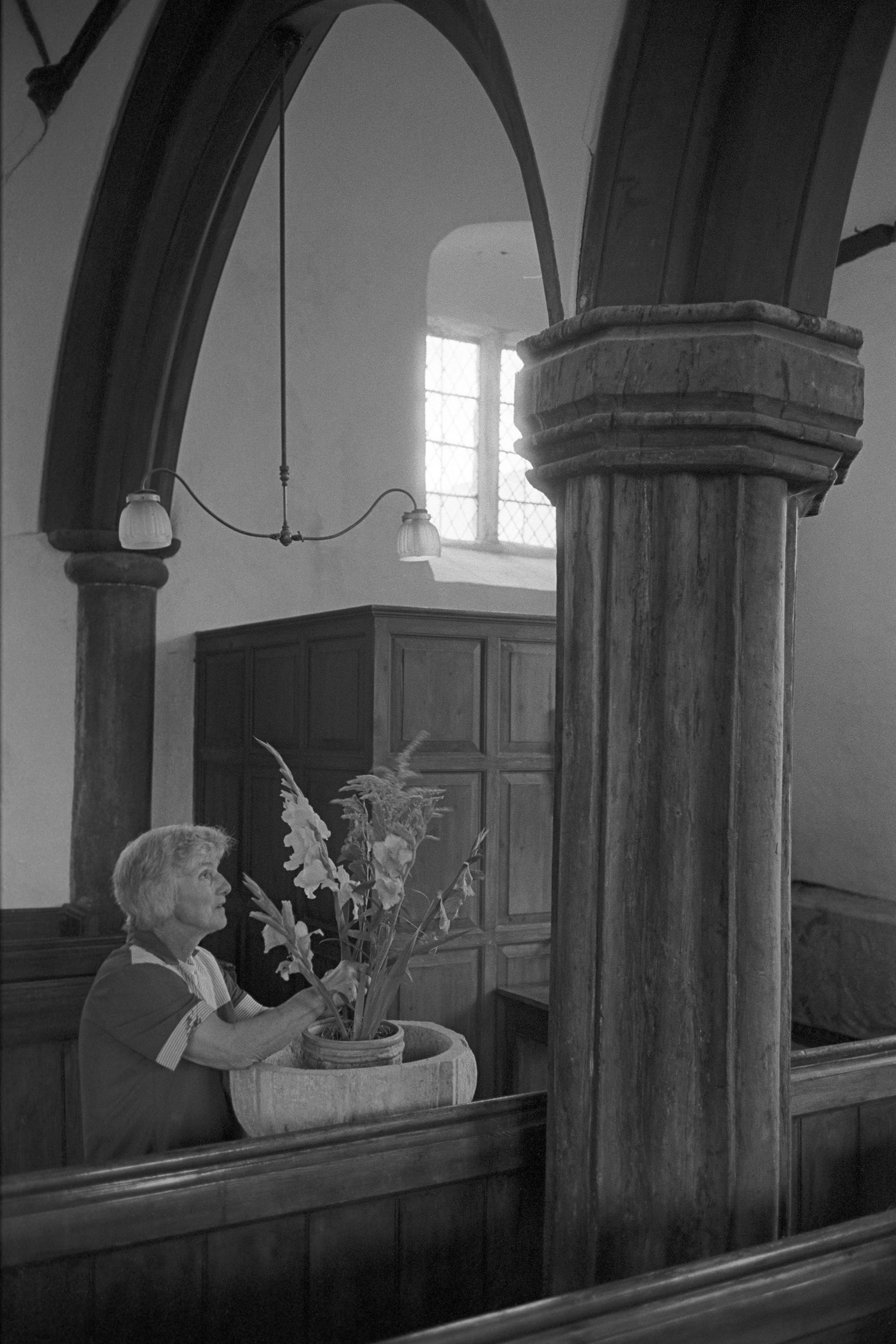 Woman decorating church font, Harvest Festival, flowers. <br /> [Evelyn Folland arranging a flower display on Dowland Church font for the Harvest Festival.]