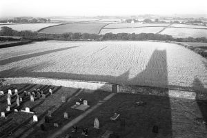 The shadow of Ashreigney church