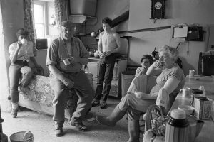 Dick French and family watching the Cup Final by James Ravilious