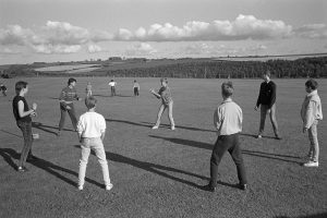 Cricket fielding practice by James Ravilious