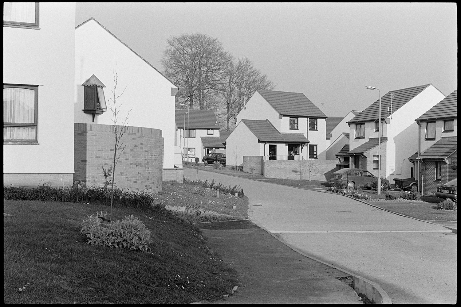 New housing estate. <br /> [Houses on a new housing estate in South Molton. Gardens and parked cars are visible.]