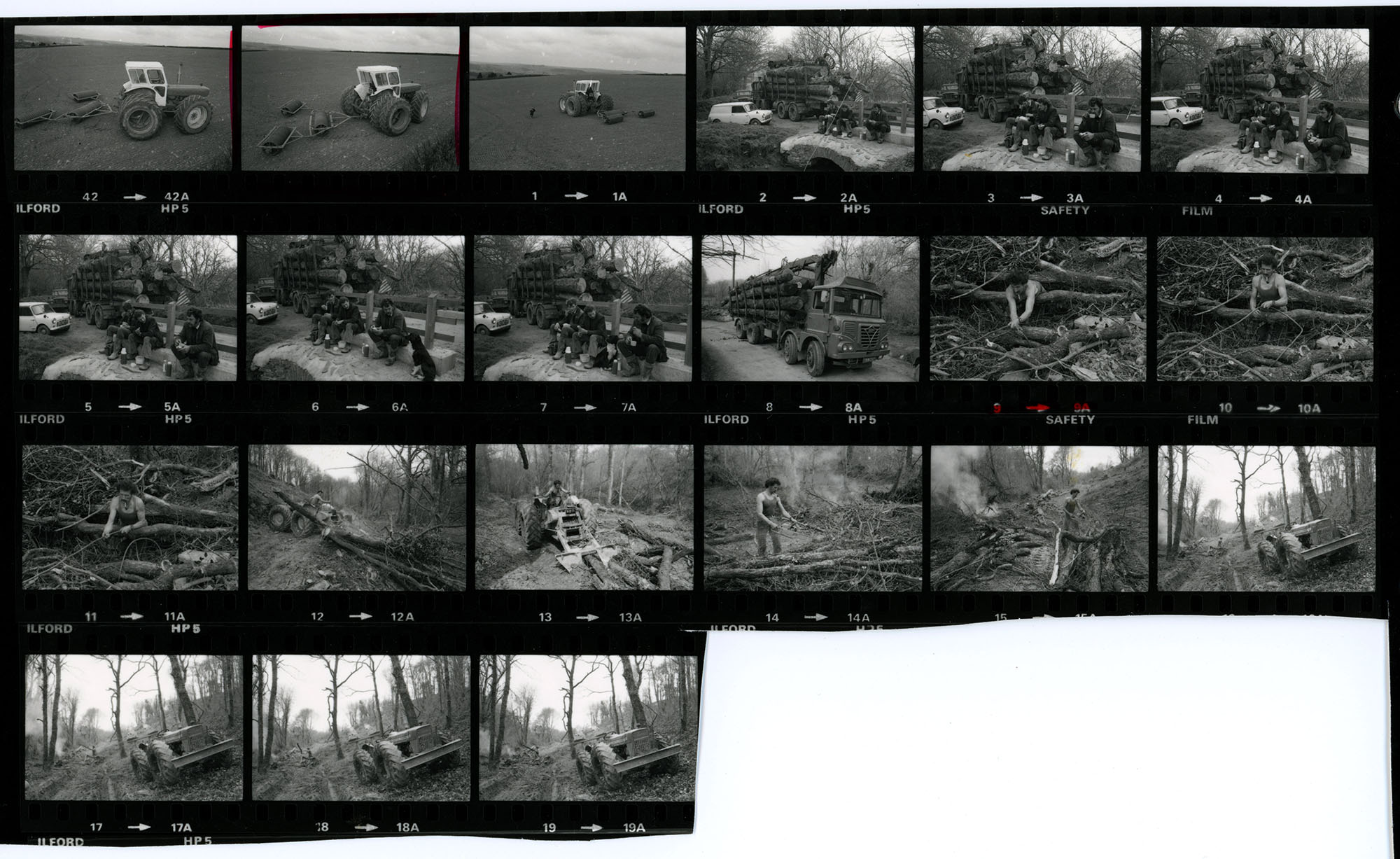 This contact sheet is in two parts. Both parts are shown on the same digital image. <br /> Part 1: Negative numbers 42 and 0-19. <br /> Part 2: Negative numbers 5B-7B.